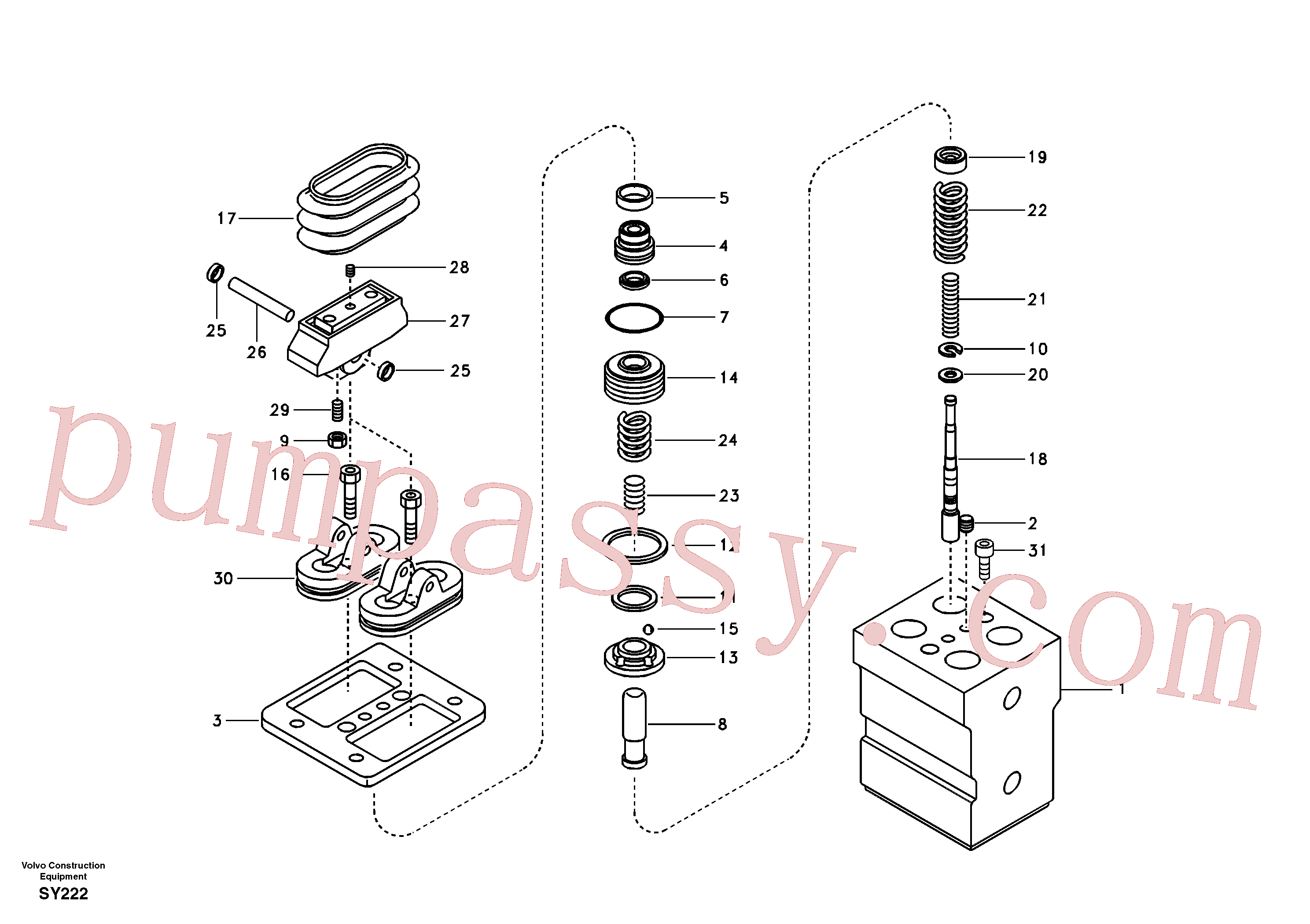 VOE14516640 for Volvo Remote control valve pedal, travel motor(SY222 assembly)