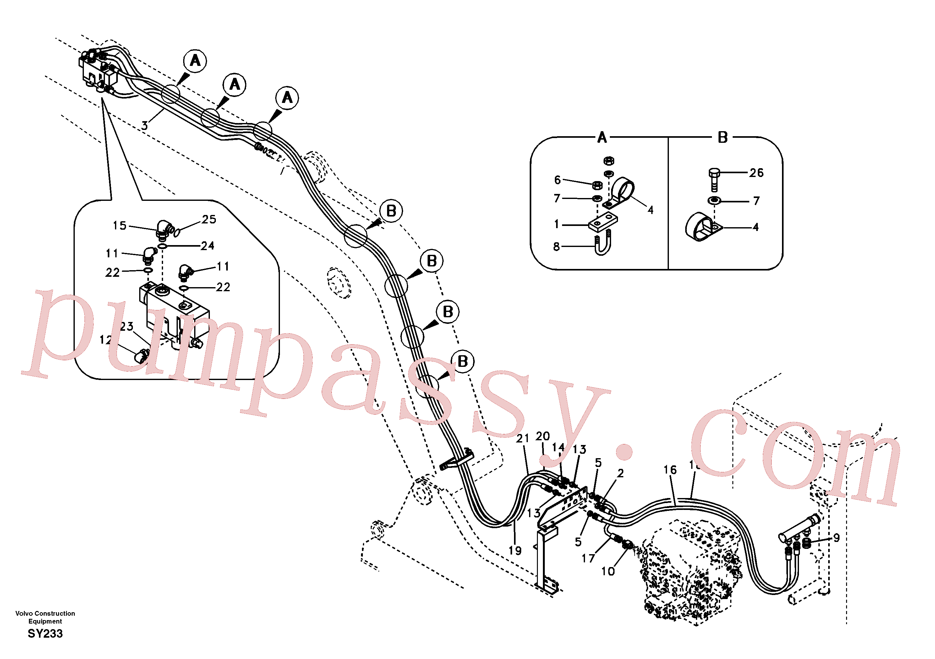 SA9451-04334 for Volvo Working hydraulic, dipper arm rupture(SY233 assembly)
